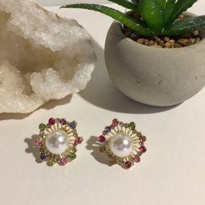 🎄18k Australian Crystals Pearl Cluster Earrings